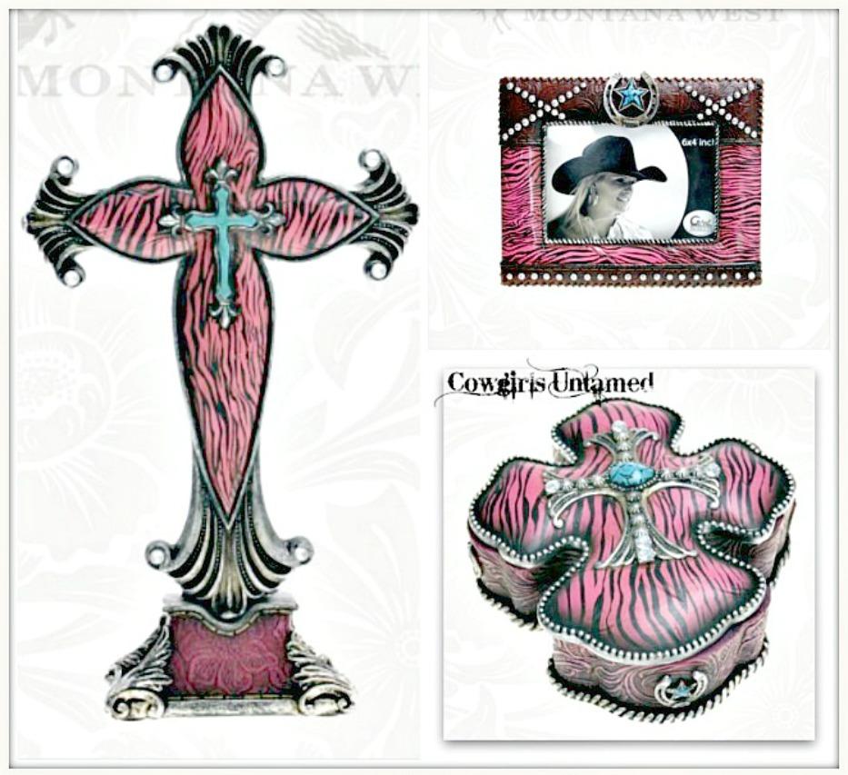 Black Pink Zebra Silver Turquoise Heart Table Cross