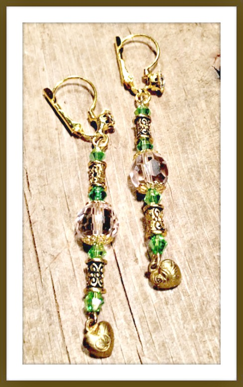 VINTAGE GYPSY EARRINGS Pink & Green Swarovski Crystal Antique Gold Heart Charm Vintage Rhinestone Earrings