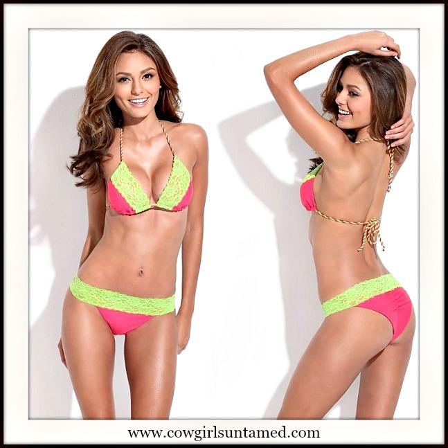SEXY COWGIRL BIKINI Lime Lace Trim Brazilian Bottom DESIGNER Hot Pink Bikini Set