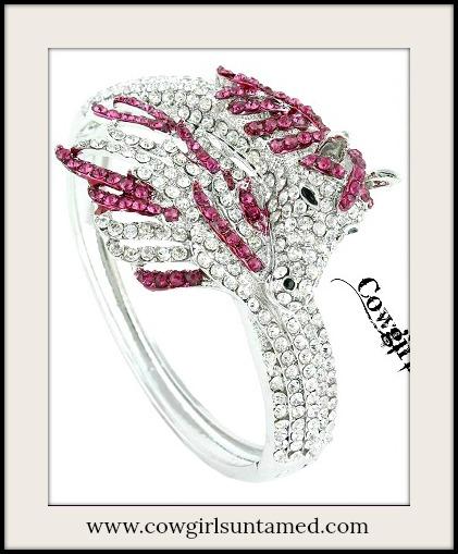 COWGIRL STYLE CUFF Silver & Pink Crystal Horse Western Cuff Bracelet