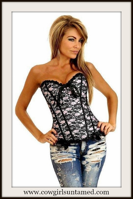 CORSET - Pink & Black Lace Overlay Corset Top