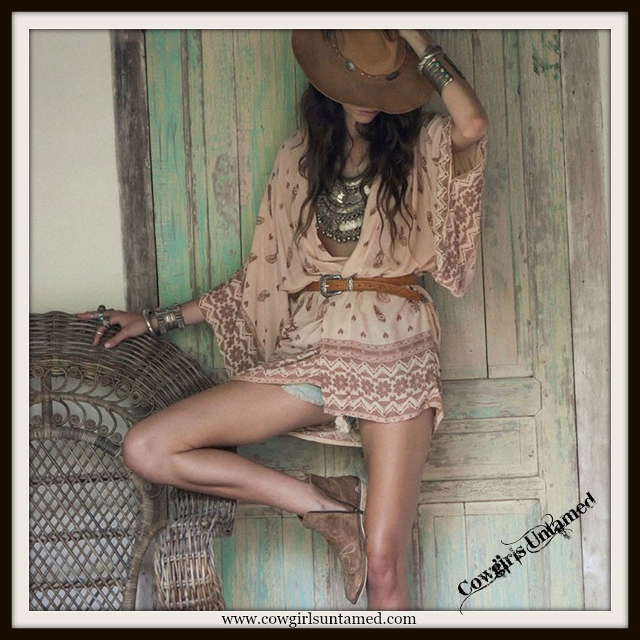 WILDFLOWER KIMONO Feather and Floral Design on Pink Boho Gypsy Kimono Beach Coverup Jacket