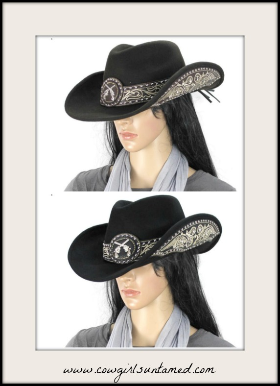 COWGIRL STYLE HAT Sixshooter Concho Silver Turquoise Studded Felt Cowgirl Hat