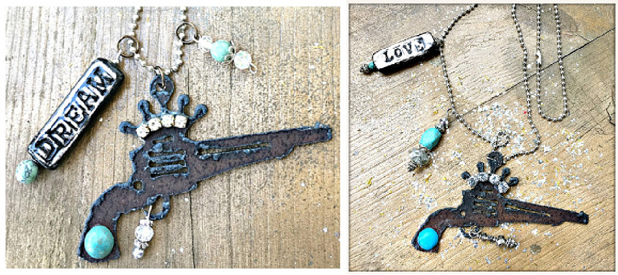 COWGIRL ATTITUDE NECKLACE Turquoise N' Crystal Charms on Metal Rhinestone Crown N Pistol Western Necklace