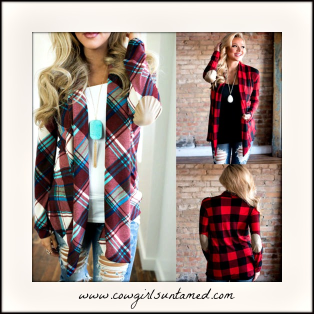 COUNTRY COWGIRL SWEATER Plaid Long Sleeve Patch Elbow Jersey Cardigan