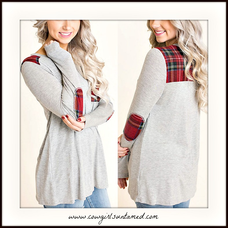COWGIRL STYLE TOP Red Plaid Accent & Elbow Patch Long Sleeve Grey Top