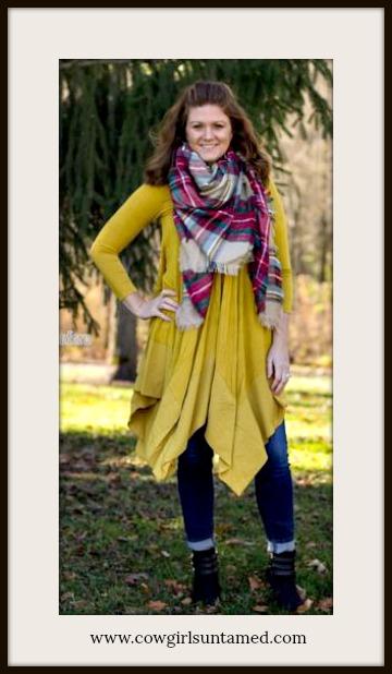COWGIRL STYLE TOP Golden Yellow V Neck 3/4 Sleeve Hankerchief Hem Tunic Top