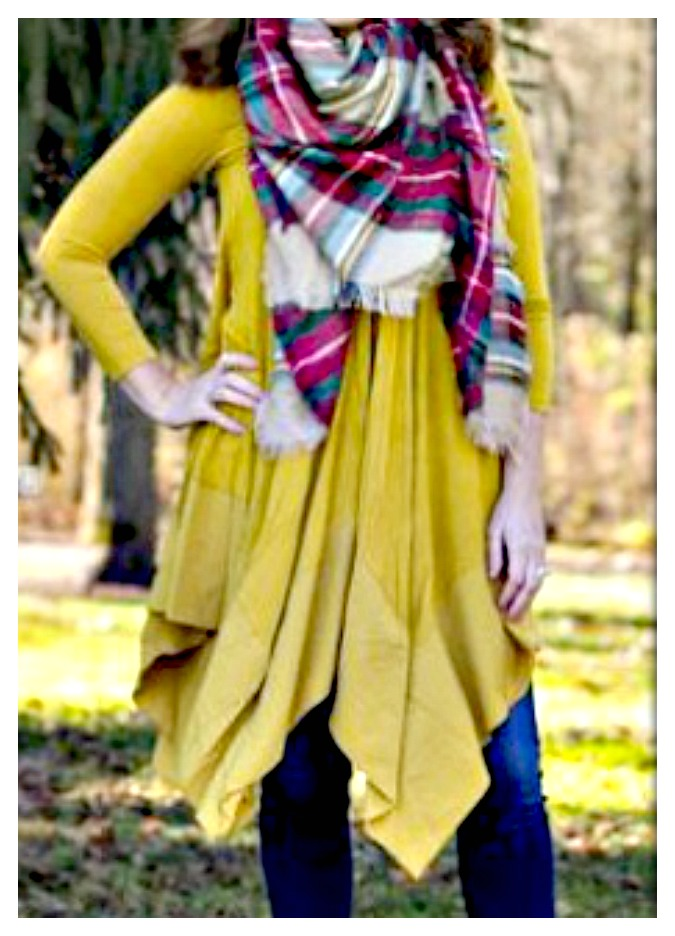 THE BRYNDLE TOP Golden Yellow V Neck 3/4 Sleeve Hankerchief Hem Tunic Top