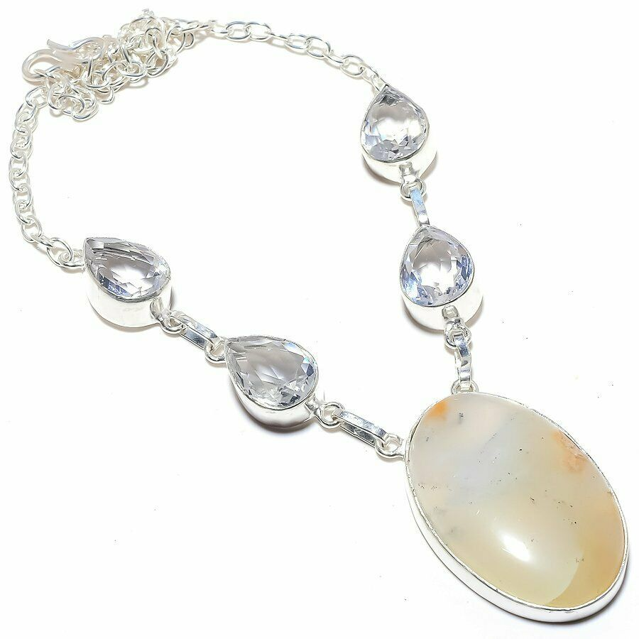 BOHEMIAN COWGIRL NECKLACE Handmade Plume Agate & White Topaz 925 Sterling Silver Necklace