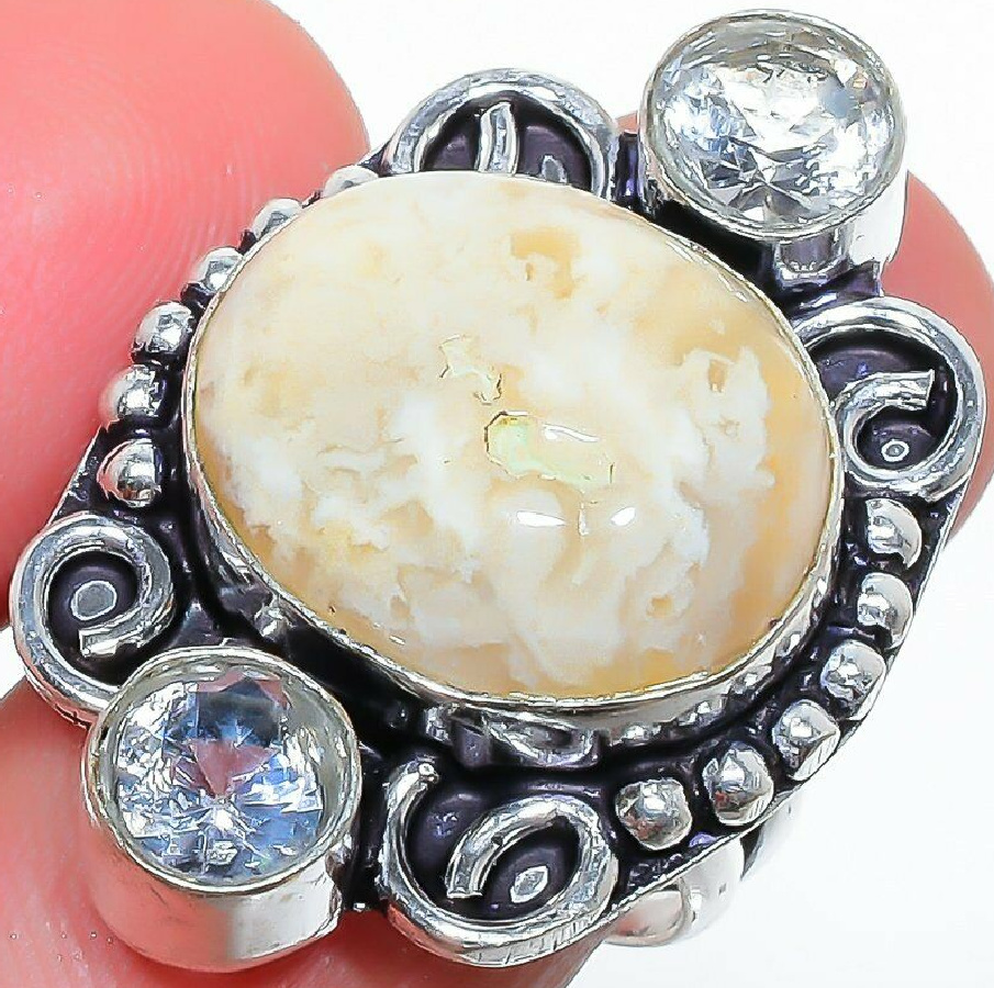 BOHEMIAN COWGIRL RING Handmade Plume Agate & White Topaz Gemstone 925 Sterling Silver Ring SIZE 8