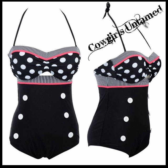 COWGIRL PINUP SWIMSUIT Polka Dot Stripe Button Front 1pc RETRO Pinup Swimsuit