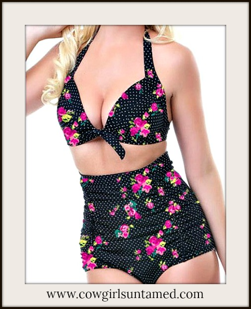 SOUTHERN BELLE BIKINI Polka Dot Vintage Retro High Waist Push Up Southern Bikini