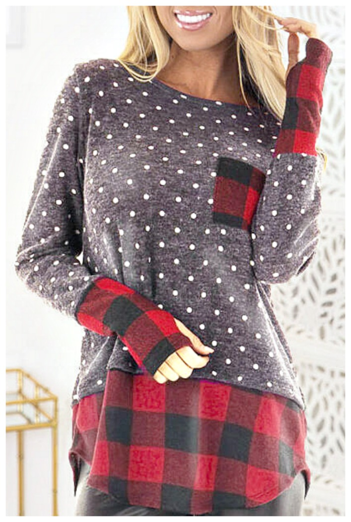 THE GWENNIE TOP Grey White Polka Dot Red Black Buffalo Plaid Pocket Long Sleeve Tunic Top ONLY 2 LEFT