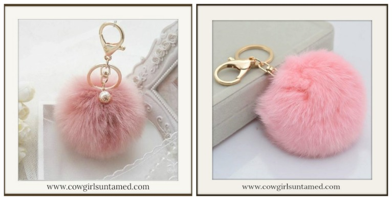 Pearl Charm Fur Pom Pom Golden Key RingKey Chain 6a12e31b7