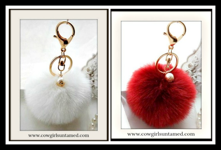 COWGIRL GLAM KEYCHAIN Pearl Charm on Fur Pom Pom Golden Key Ring