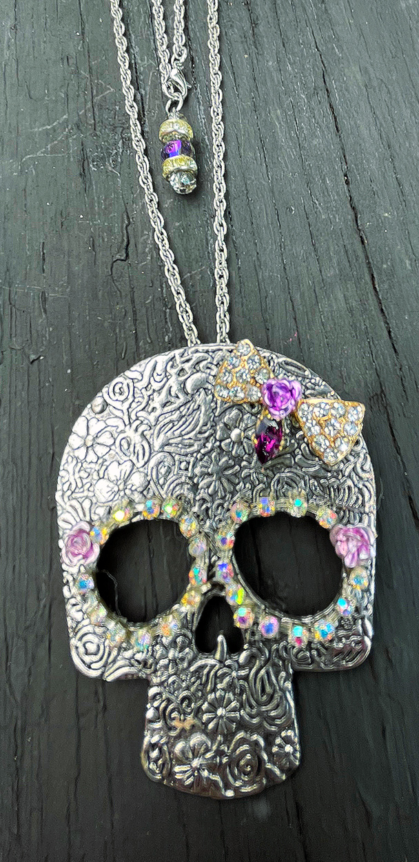 REBEL SOUL NECKLACE Handmade Rhinestone Purple Amethyst Bow Flower Antique Silver Floral Embossed Skull Pendant Necklace