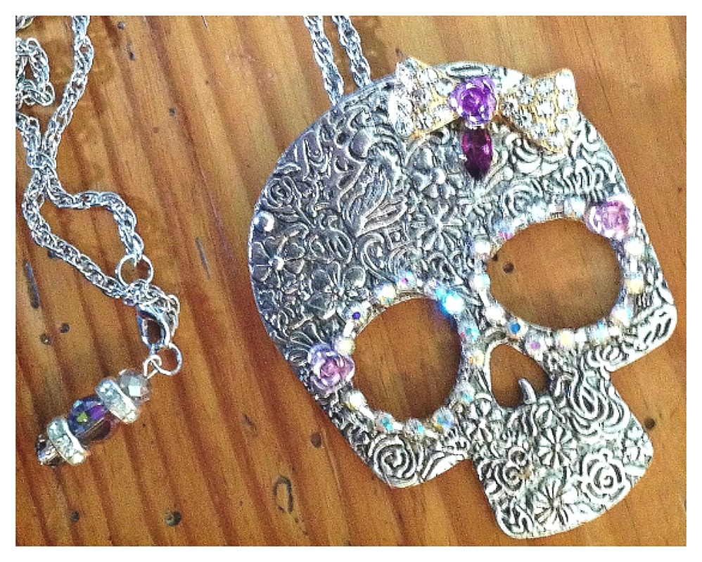 REBEL SOUL NECKLACE Rhinestone Bow with Purple Amethyst and Flower Accent on Antique Silver Floral Embossed Skull Necklace