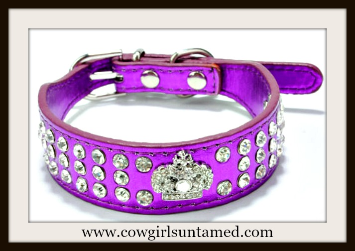 BLINGIN' BESTIES COLLAR Crystal Studded with Rhinestone Concho on Metallic Purple Collar