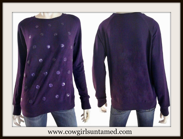 COWGIRL GLAM SWEATER Purple Sequin Polka Dot Pullover Designer Sweater