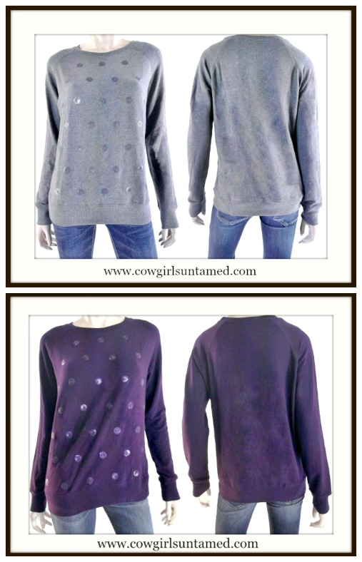 GLAM SWEATER Sequin Polka Dot Pullover Designer Sweater 2 COLORS LIMITED QTY