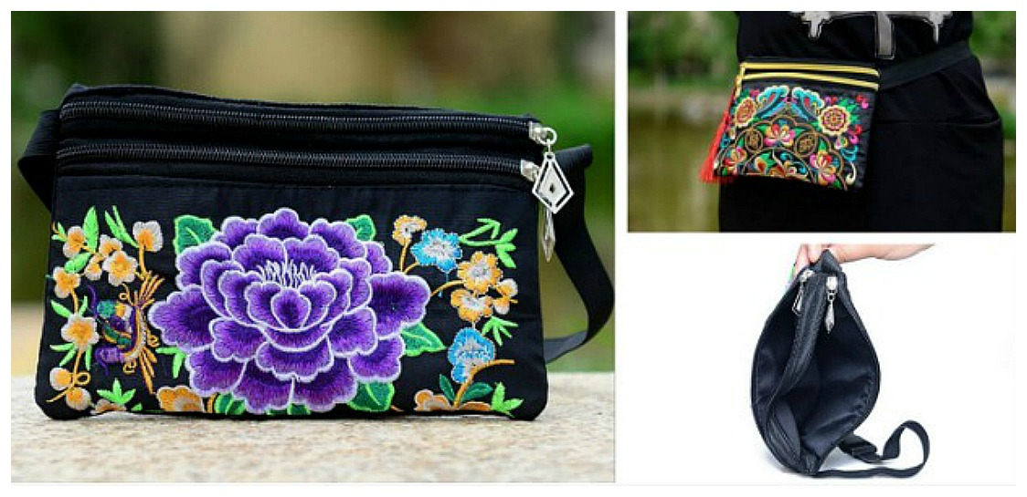 BOHEMIAN COWGIRL BAG Purple Embroidered Floral Boho Fanny Pack