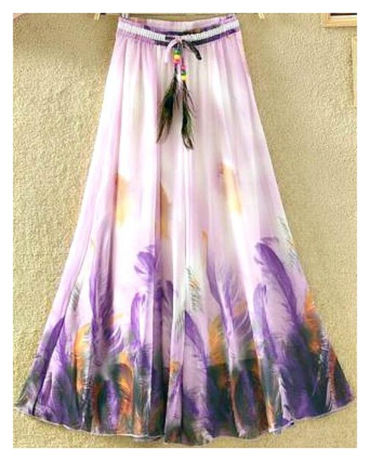 COWGIRL GYPSY SKIRT Shades of Purple Feather Print Elastic Waist Chiffon Skirt