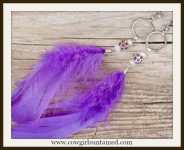 COWGIRL GLAM EARRINGS Purple Feather on Purple Rhinestone Bead Antique Silver Western Earrings