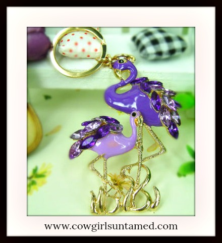 SUNDANCE COWGIRL KEYCHAIN Golden Purple Rhinestone Double Flamingo Keychain