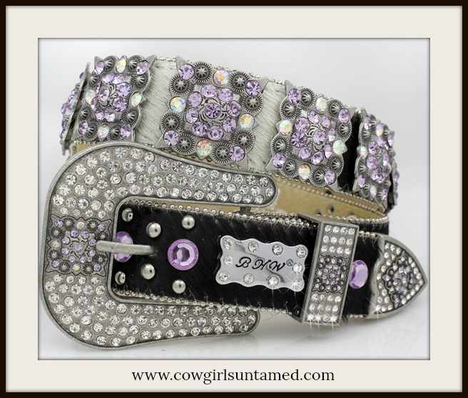 COWGIRL STYLE BELT Hair on Hide Leather Lavender Purple Crystal Concho Belt