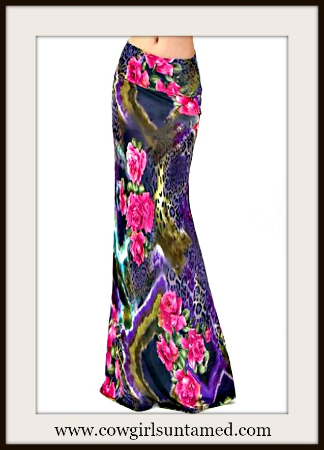 COWGIRL GYPSY SKIRT Pink Floral Purple Leopard Mixed Pattern Long A-Line Boho Maxi Skirt
