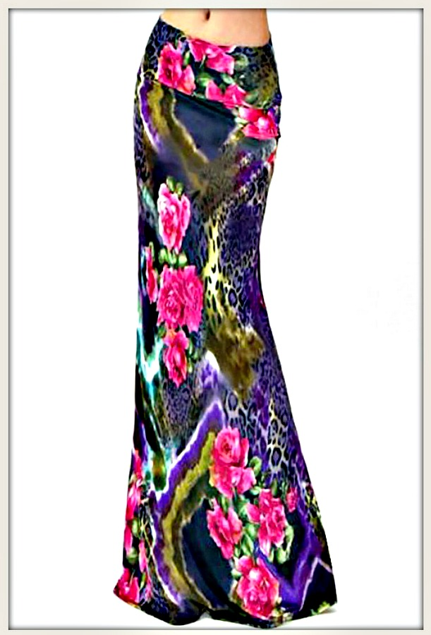 ON THE PROWL SKIRT Pink Floral Purple Leopard Mixed Pattern Long A-Line Boho Maxi Skirt