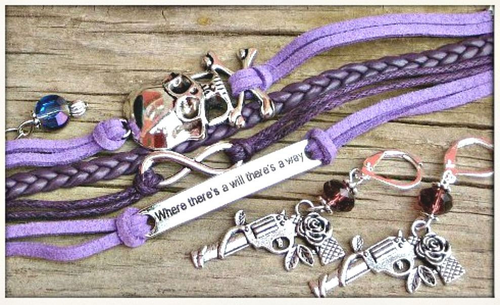"PISTOL PACKIN' MAMA EARRINGS SET Antique Silver Skull n ""Where There's a Will There's A Way"" Purple Leather Bracelet Earring SET"