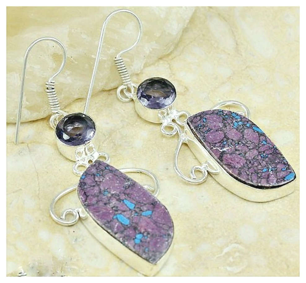 COWGIRL GYPSY EARRINGS Purple Turquoise and Amethyst Gemstone Sterling Silver Plated Western Earrings