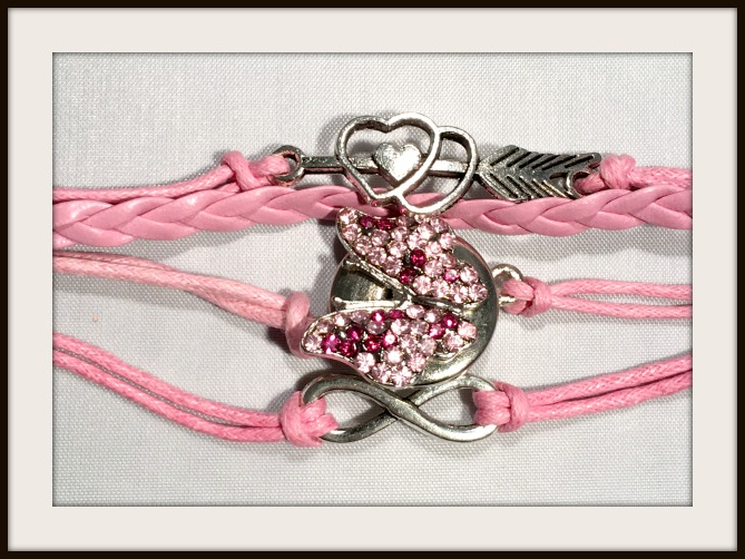 COWGIRL ATTITUDE BRACELET Silver Infinity, Arrow, Hearts and  Pink/Purple Butterfly Snap Charm Pink Leather Bracelet