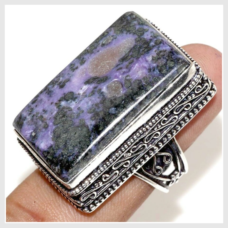 THE CHAROITE RING Purple Charoite Gemstone 925 Sterling Silver Plated Ring