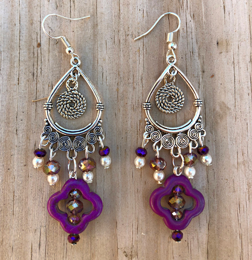 PURPLE REIGN EARRINGS Handmade Purple Turquoise Crystal White Pearl Charm Chandelier Silver Boho Earrings