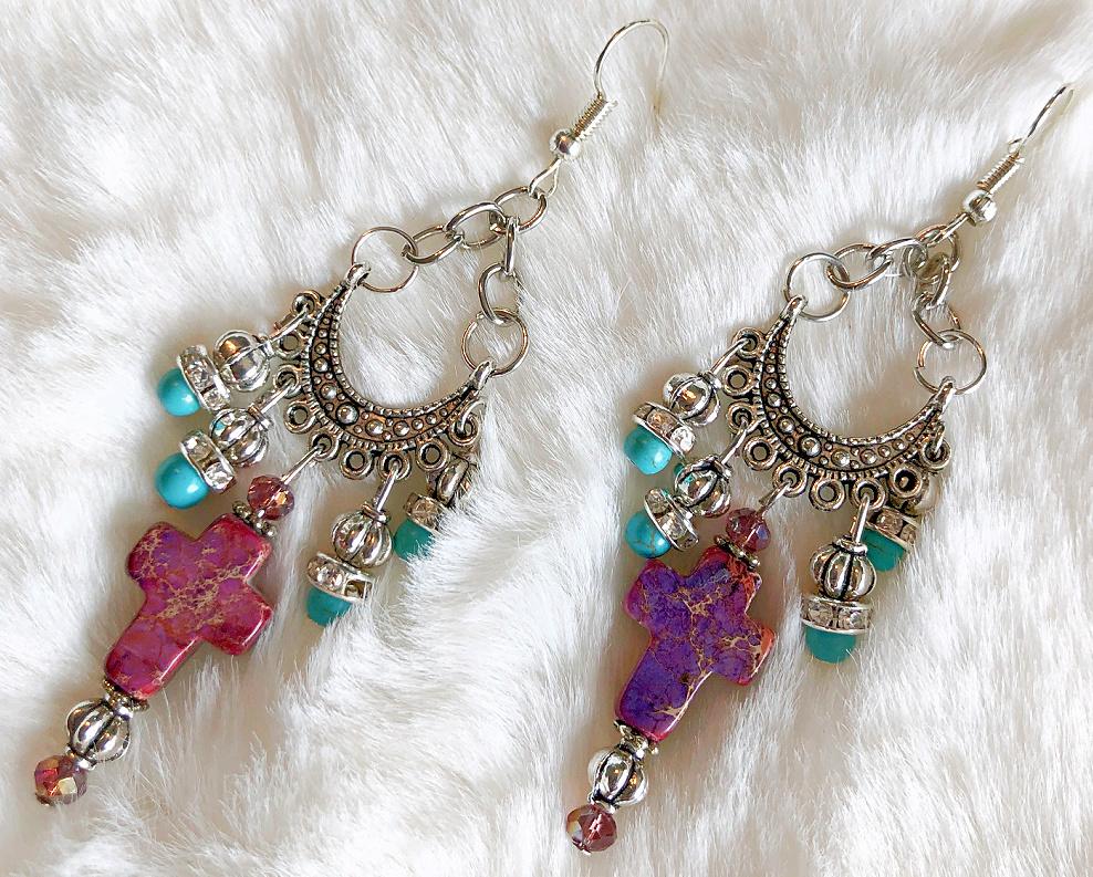 BOHEMIAN COWGIRL EARRINGS Purple Gemstone Cross Rhinestone Turquoise Silver Crystal Handmade Chandelier Earrings