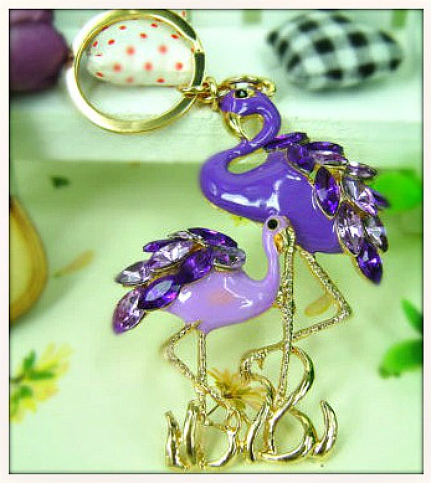 GOING FLAMINGO KEYCHAIN Golden Purple Rhinestone Double Flamingo Keychain