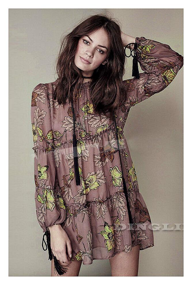VINTAGE BOHEMIAN DRESS Floral High Neck Long Tassel Tie Sleeve Sheer Flowy Short Boho Dress LAST ONE XL