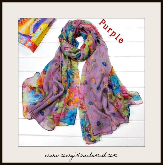 WILDFLOWER SCARF Multi Color Floral Purple Scarf