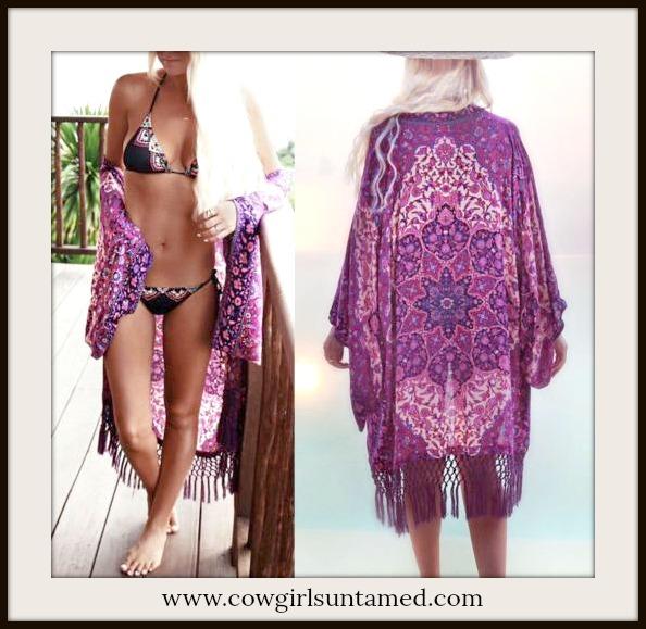 BOHO CHIC KIMONO Shades of Purple Chiffon Fringe Boho Kimono