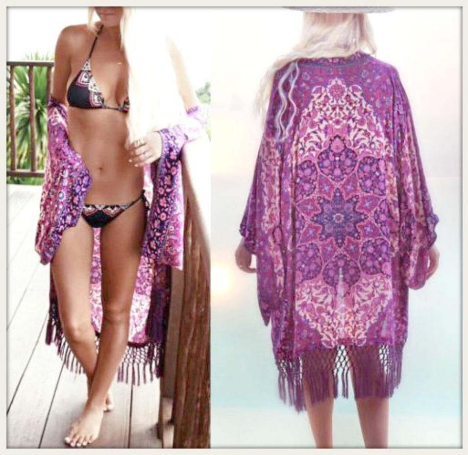 BOHEMIAN KIMONO Shades of Purple Chiffon Fringe Boho Kimono