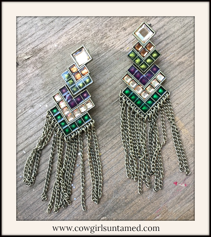 VINTAGE COWGIRL EARRINGS Purple Green Amber Crystal Antique Bronze Chain Earrings