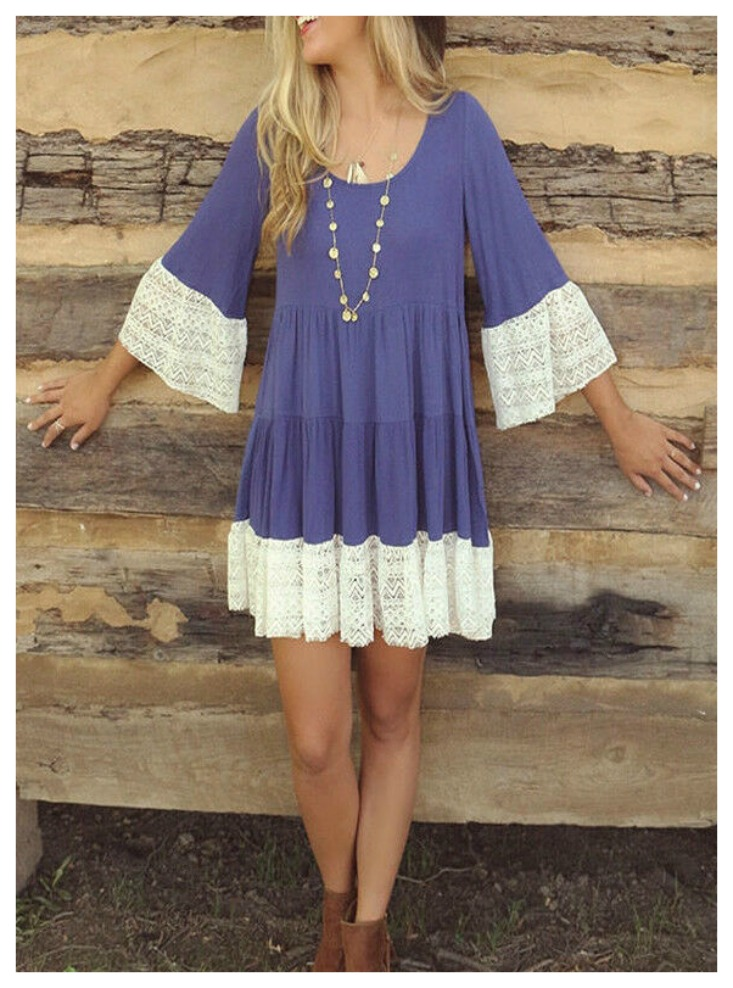 THE KYLIE DRESS White Lace  Scoop Neck 3/4 Sleeve Periwinkle Blue Tiered Short Casual Boho Dress S-XL