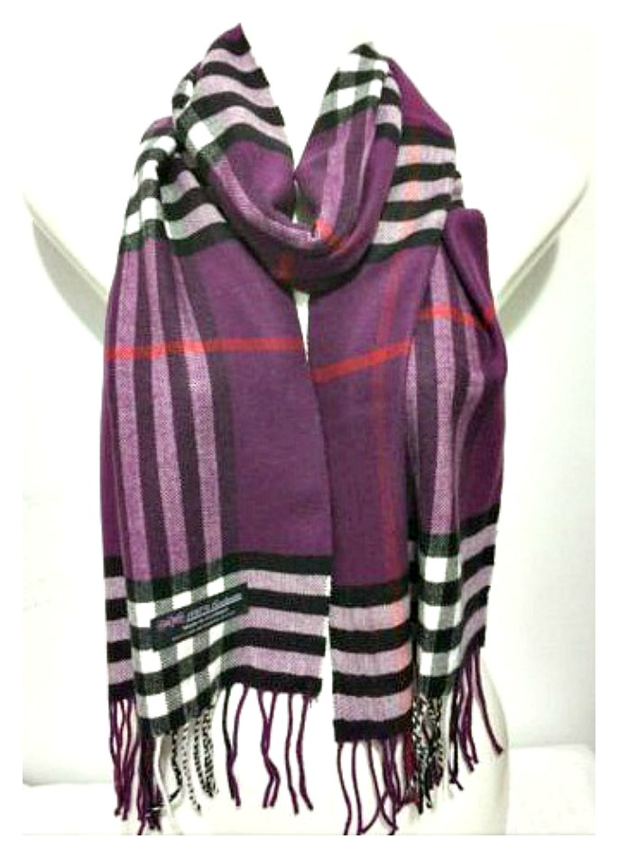 PRETTY in PURPLE SCARF Purple & Black Plaid Fringe Cashmere Scarf