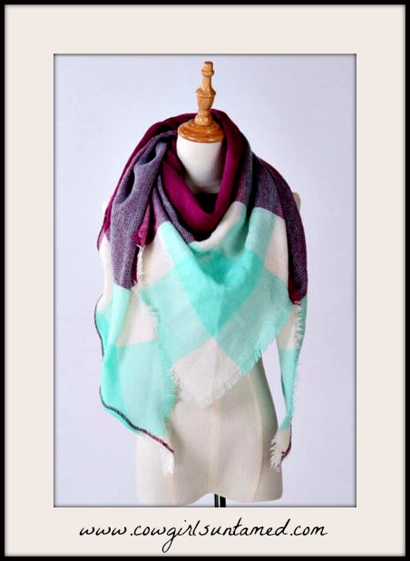 COWGIRL STYLE SCARF Purple Mint Plaid Pashmina Scarf