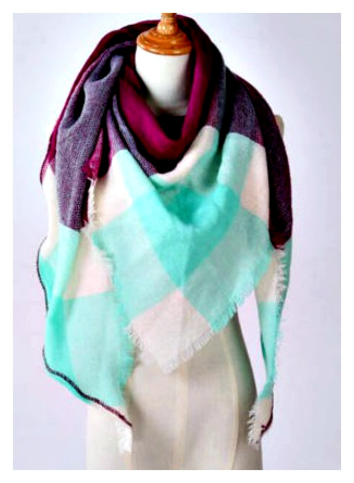 PRETTY in PURPLE SCARF Purple Mint Plaid Pashmina Scarf