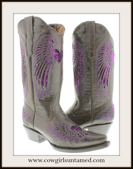 COWGIRL STYLE BOOTS Purple Sequin Heart & Angel Wings Brown Genuine Leather Cowgirl Boots