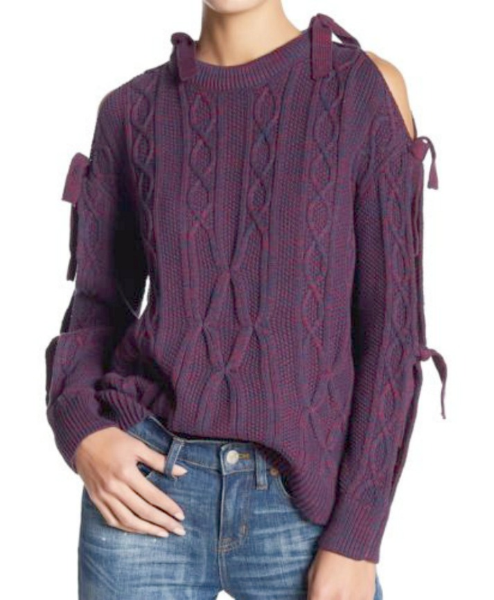 DESIGNER SWEATER Purple & Navy Cable Knit Tie Sleeve Pullover Designer Sweater