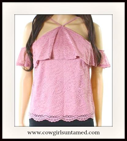 MAGNOLIAS BLOOM TOP Violet Purple Cold Shoulder Strappy Lace Short Sleeve Top